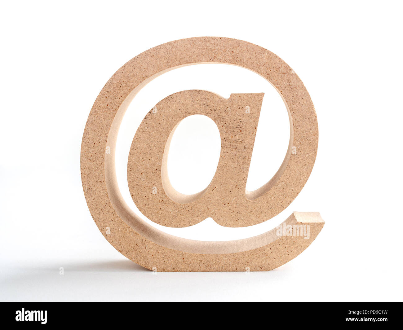 Wooden E-mail address symbol, arroba icon isolated on white