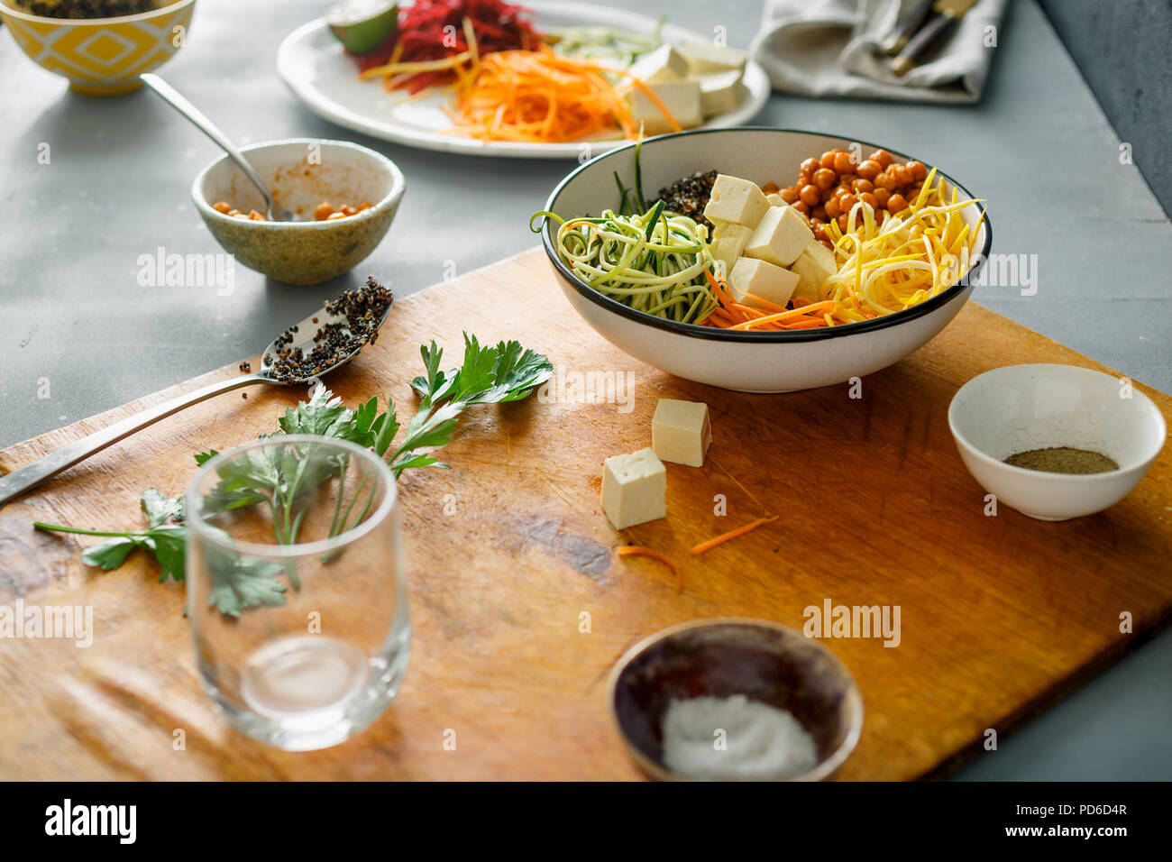 Healthy food clean eating concept. Cooking bowl buddha of spiralized vegetables Stock Photo