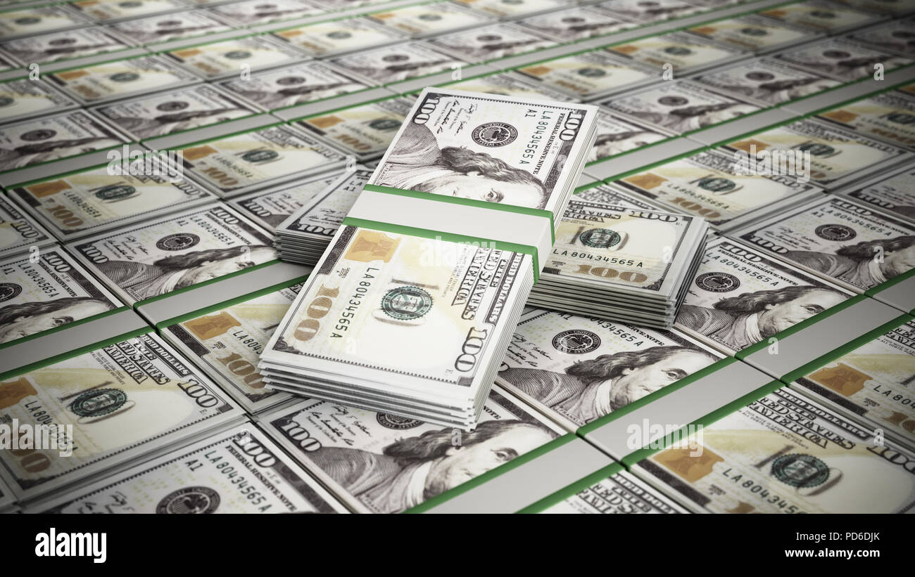 Stacked 100 dollar money bills. Business and success concept. 3D illustration. - Stock Image