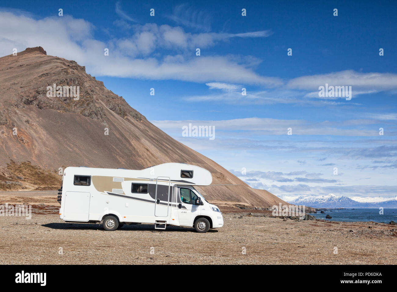25 April 2018: South Iceland - Motorhome parked in a rest area beside the Ring Road in South Iceland - Stock Image