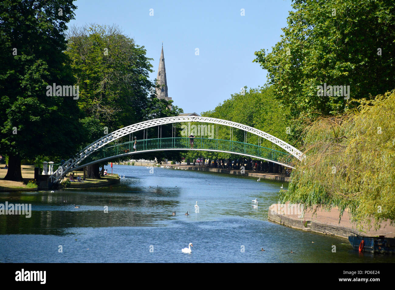 View of a foot bridge over the River Great Ouse flowing through Bedford, UK - Stock Image