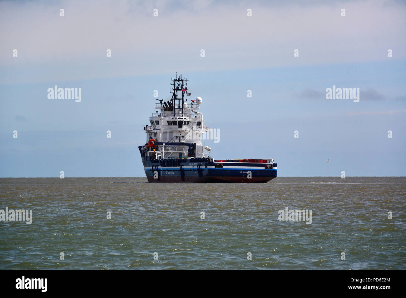 Highland Princess offshore supply vessel under way at Great Yarmouth, Norfolk, England. - Stock Image