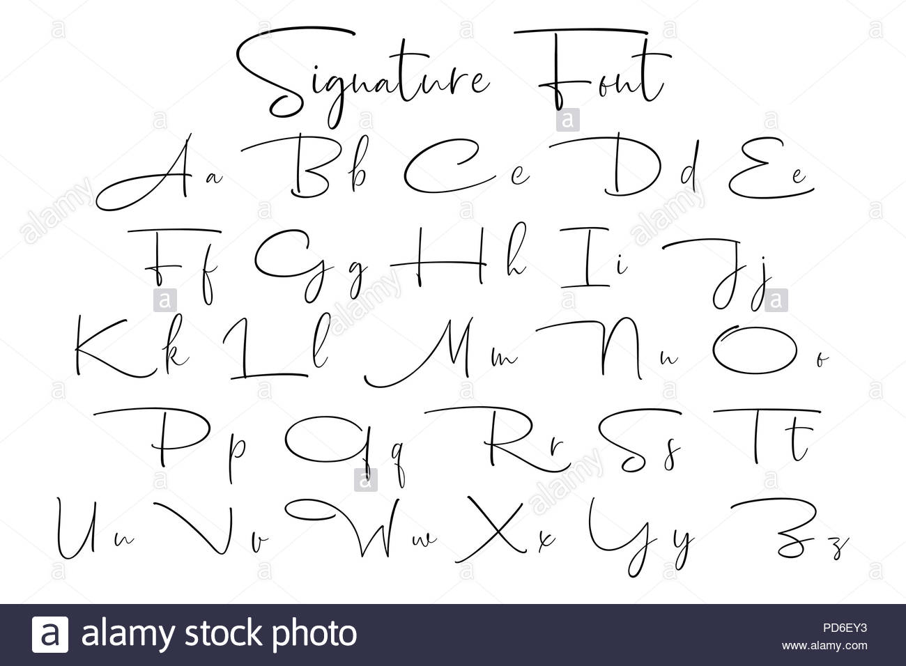 signature font alphabet stock photo  214658391