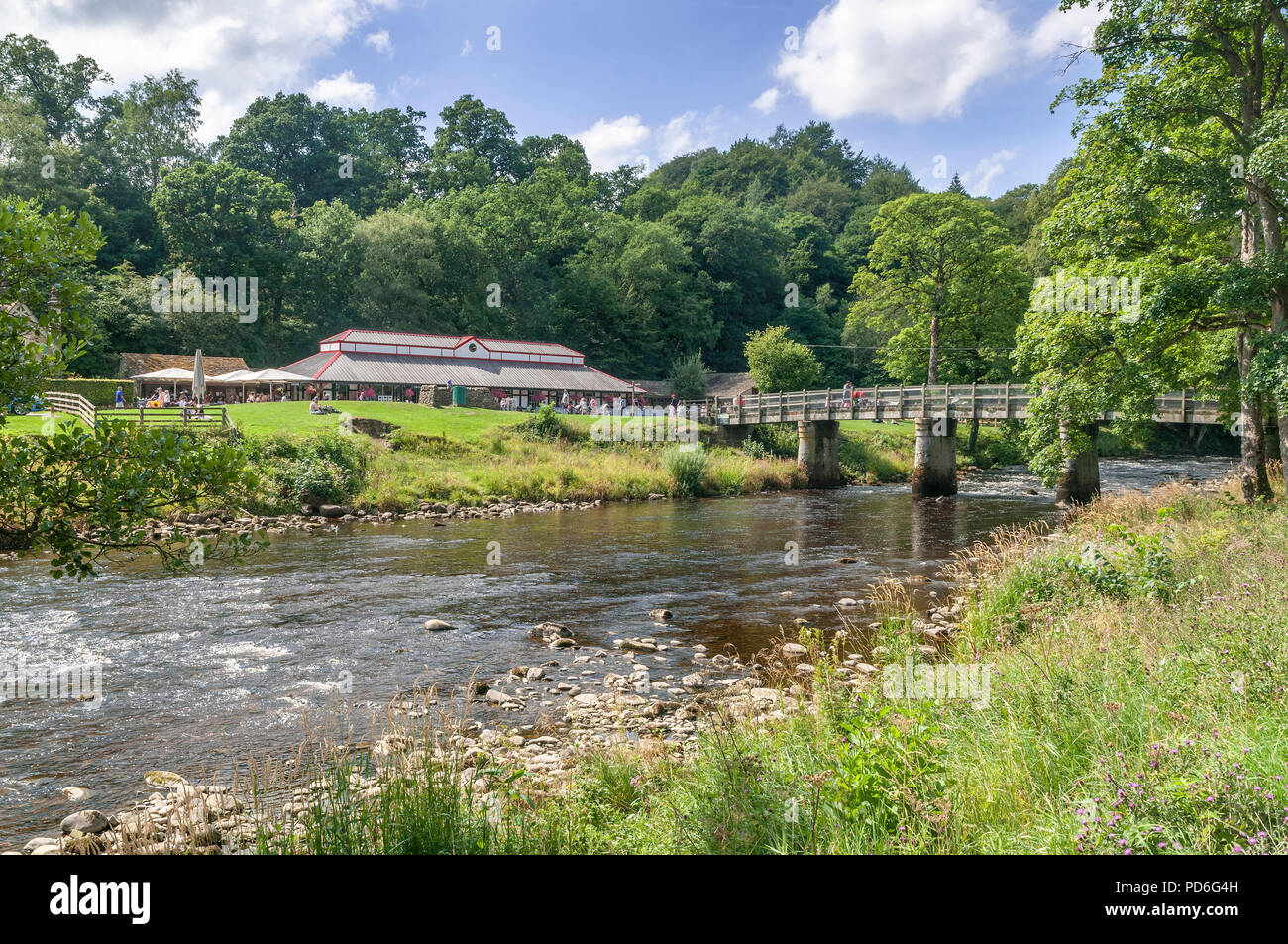 Bolton Abbey. West Yorkshire. River Wharfe. The Devonshire Pavillion cafe. - Stock Image