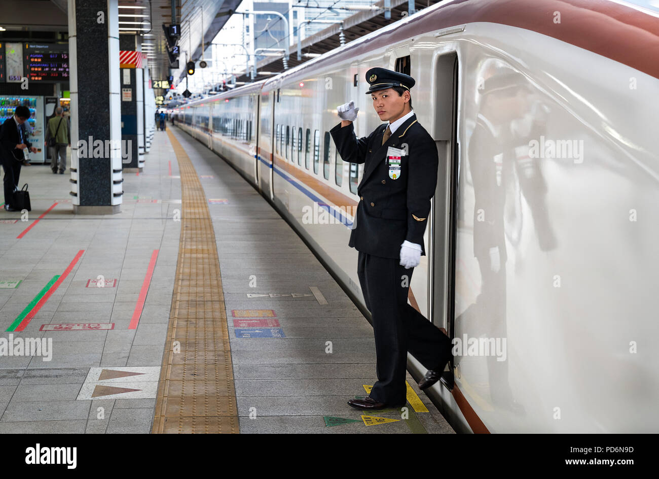 Japan, Honshu island, Kanto, Tokyo, by the central railway station of Tokyo, rapid train, Shinkansen. - Stock Image