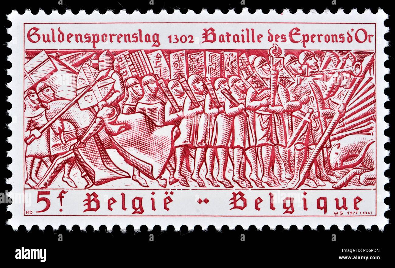 Belgian postage stamp (1977) : Battle of Courtrai / La Bataille des éperons d'or / Battle of the Golden Spurs / Guldensporenslag - 1302 - Stock Image