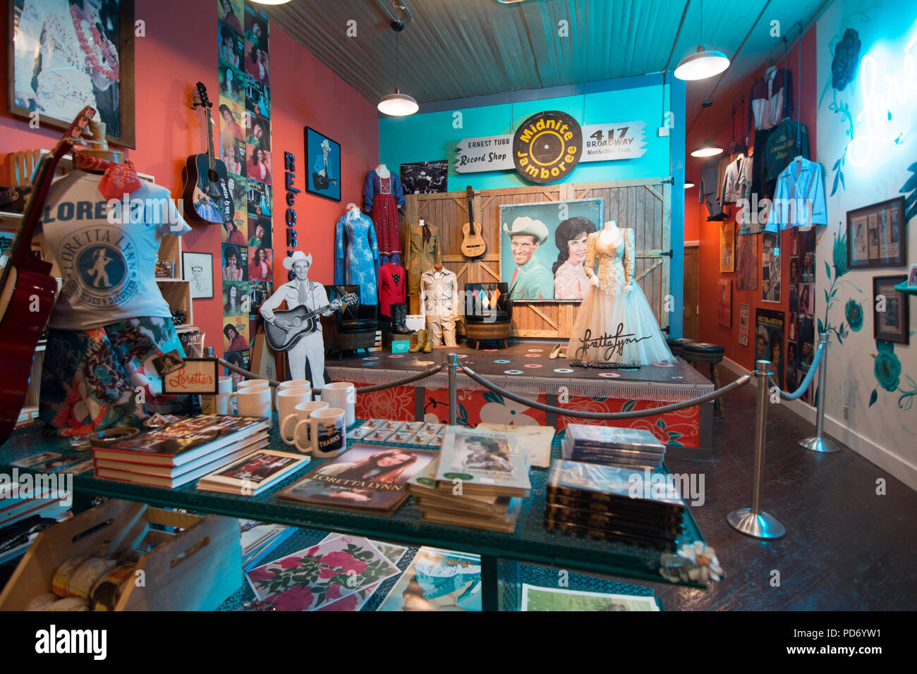 Costumes and memorabilia on display in the the famous Ernest Tubb Record Shop in Nashville, Tennessee, USA - Stock Image
