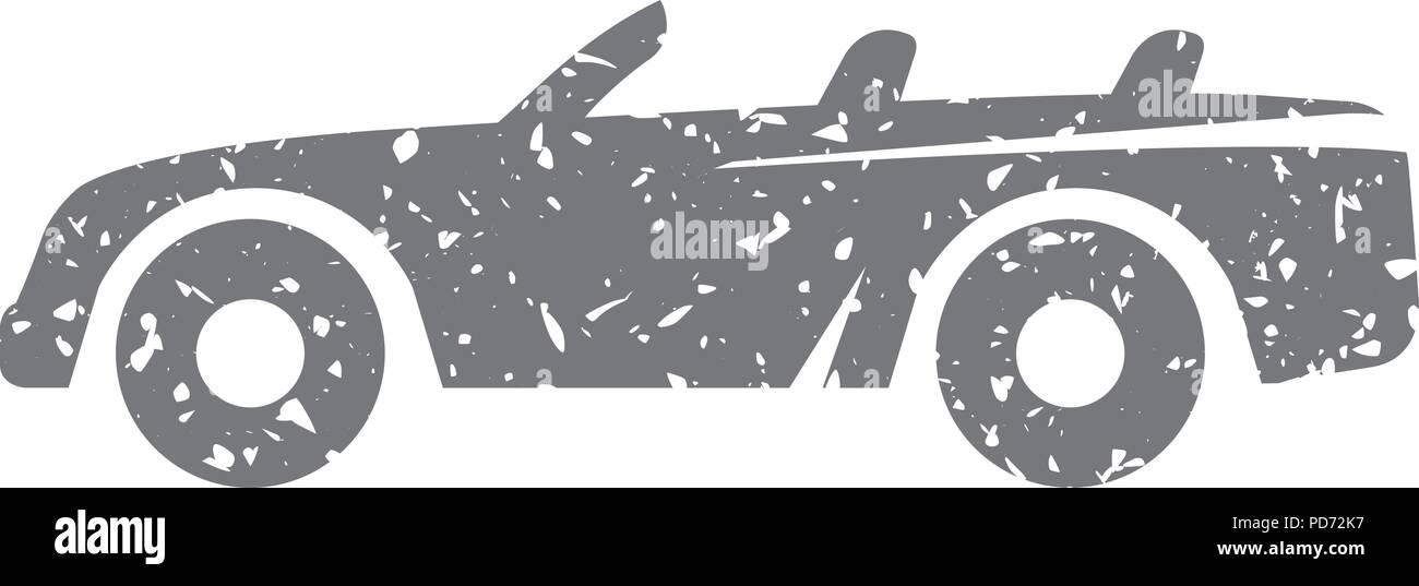 Grunge icon - Sport car convertible - Stock Image