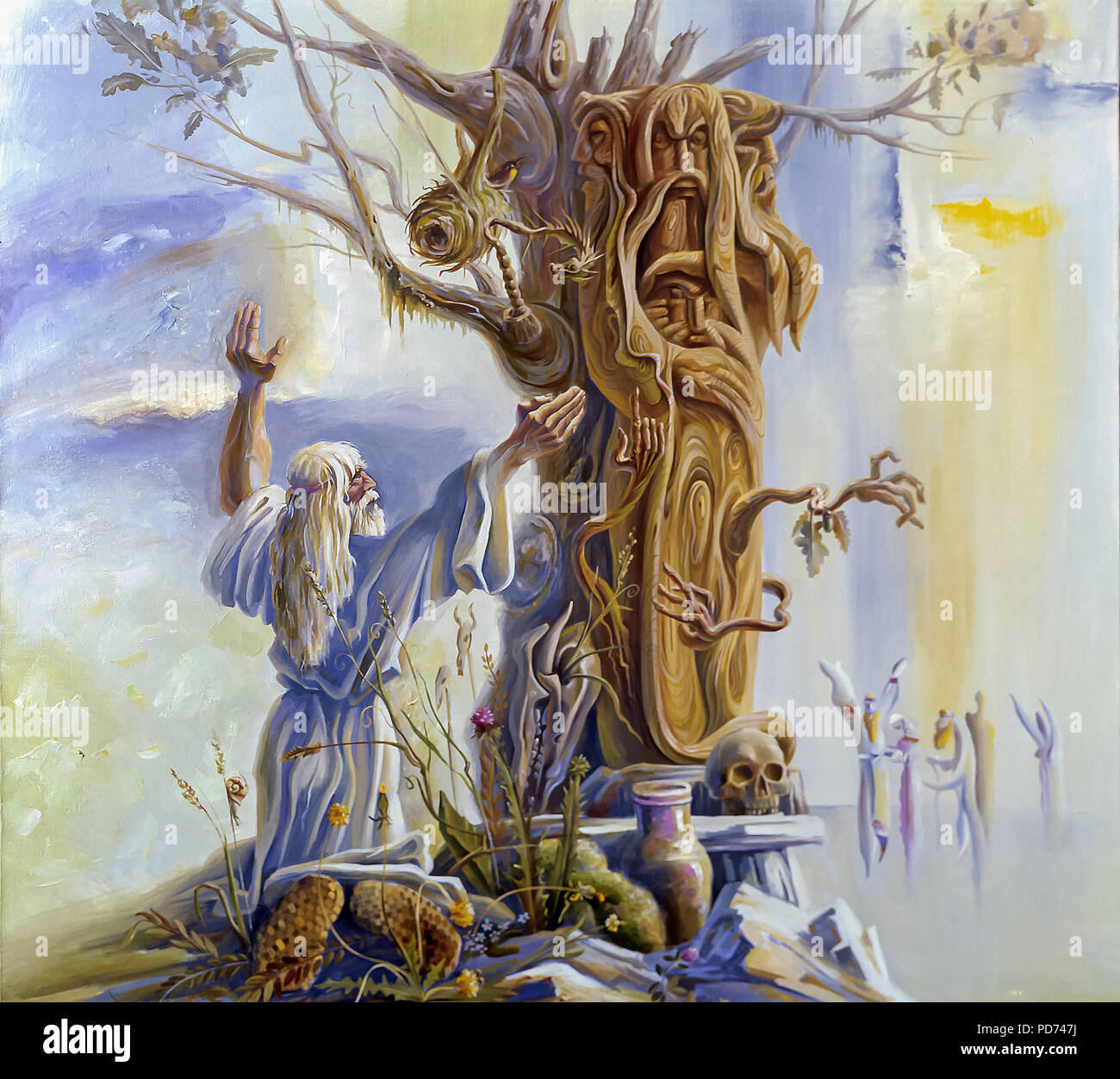 An oil painting on canvas. Worship of a wooden idol. Old Slavic paganism. Author: Nikolay Sivenkov. - Stock Image
