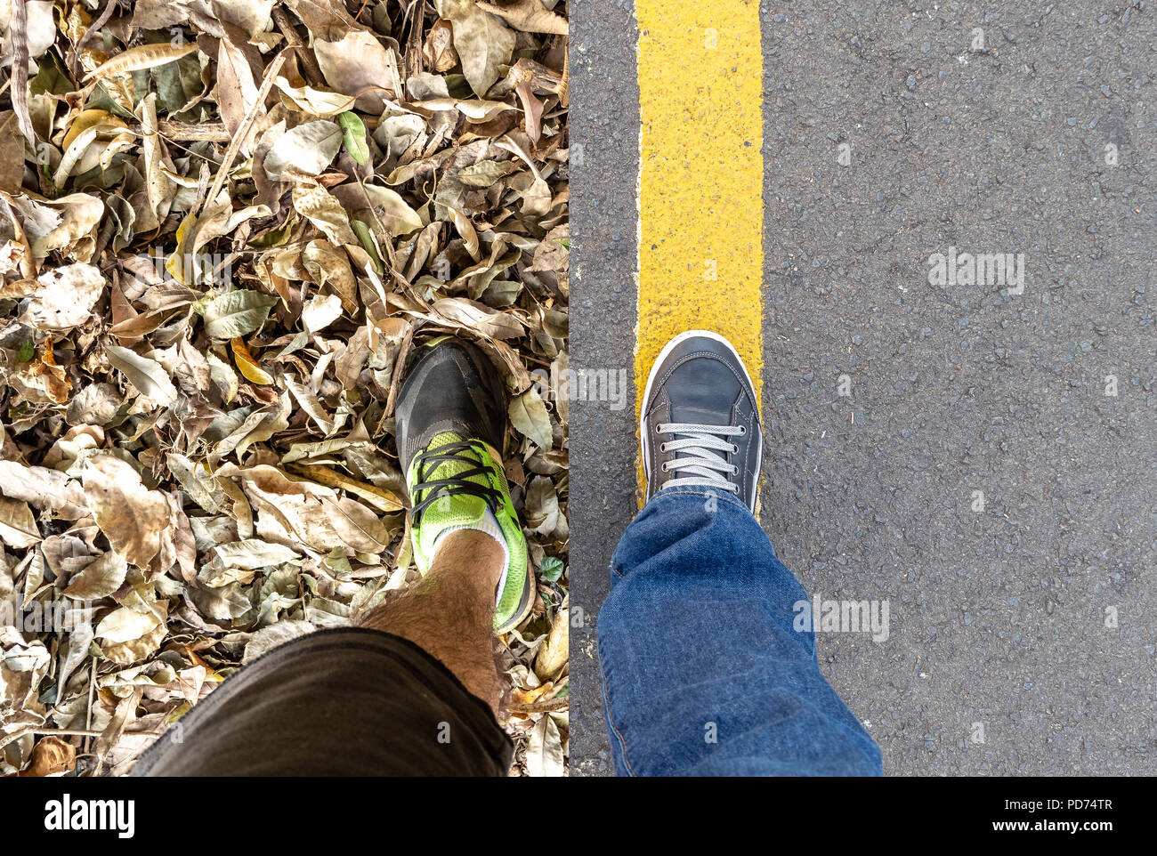 Composite of two images of personal perspective of the legs. One on the street and the other in the nature - Stock Image