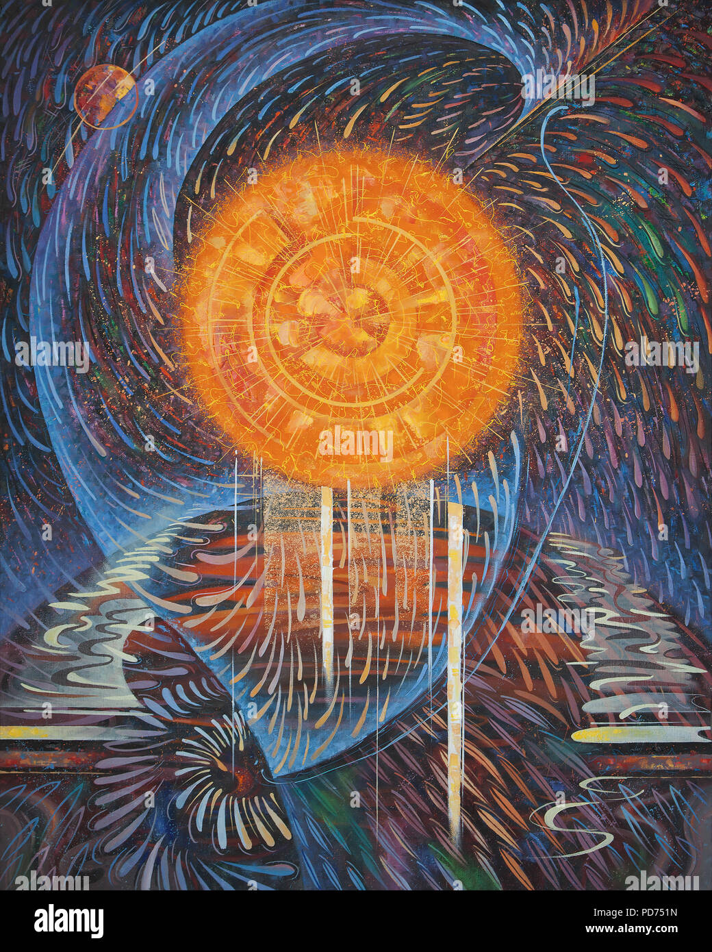 Abstract painting on the theme: Energy of the Sun. Painting: canvas, oil. Author: Nikolay Sivenkov. - Stock Image