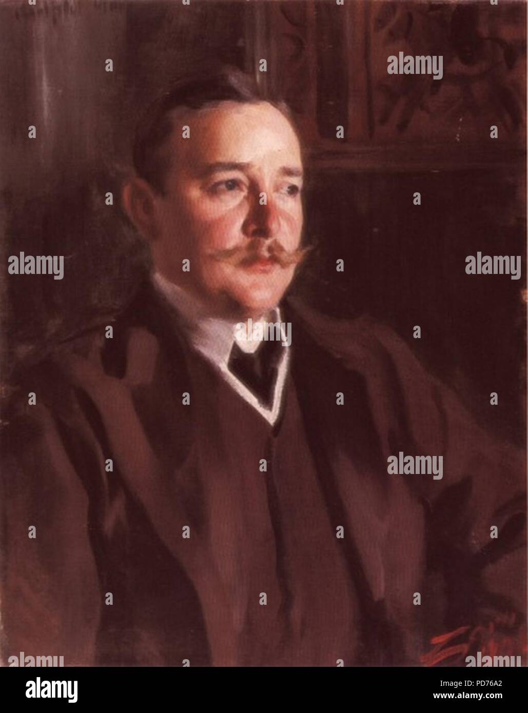 Anders Zorn - Erik Axel Karlfeldt i Zorngårdens matsal (1906). - Stock Image