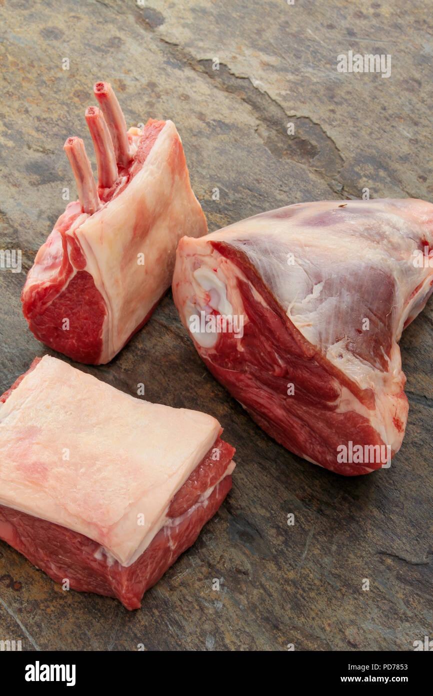 Raw Lamb meatCuts - Stock Image