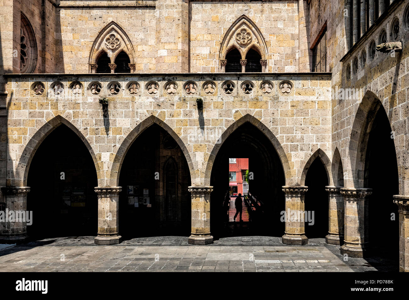 Patio of the Expiatorio Temple in Guadalajara, Jalisco, Mexico. - Stock Image