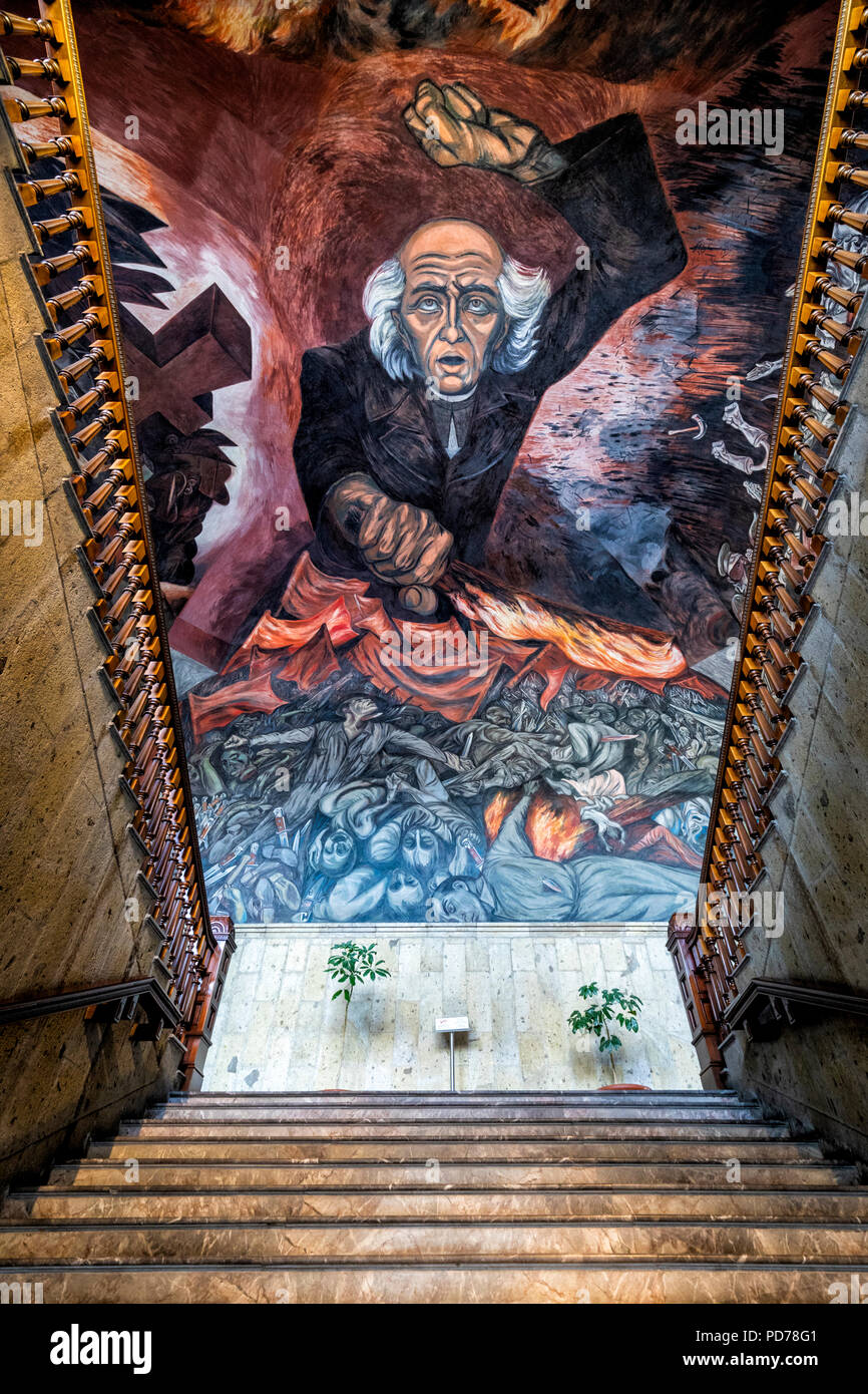 Orozco murals in the government palace of Guadalajara, Mexico. - Stock Image