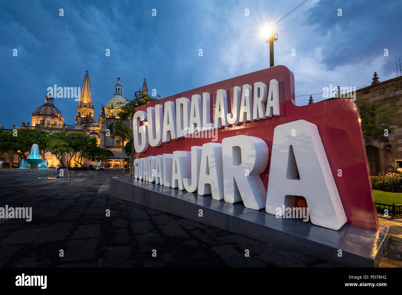 'Guadalajara, Guadalajara' as the song goes, and as this sign loudly announces on the Plaza Libertadores. - Stock Image