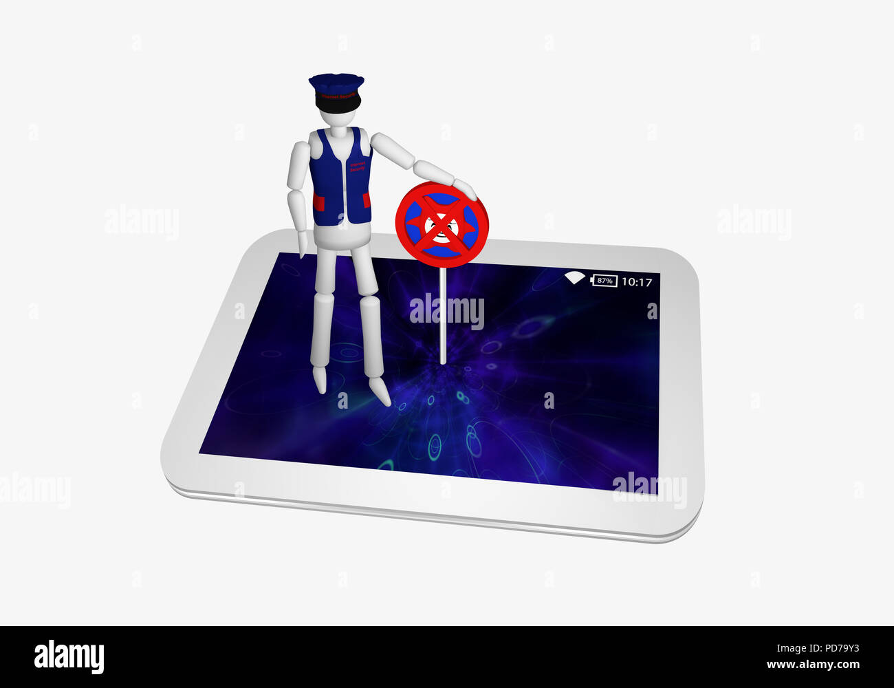 Tablet in white with an antivirus shield and a security officer on it. 3d rendering - Stock Image