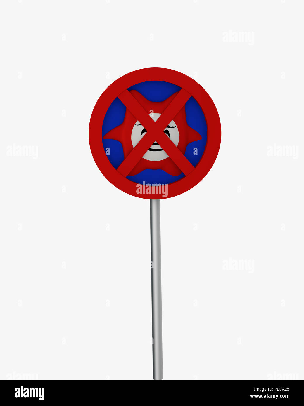 Antivirus shield isolated in red-blue on white. 3d rendering - Stock Image