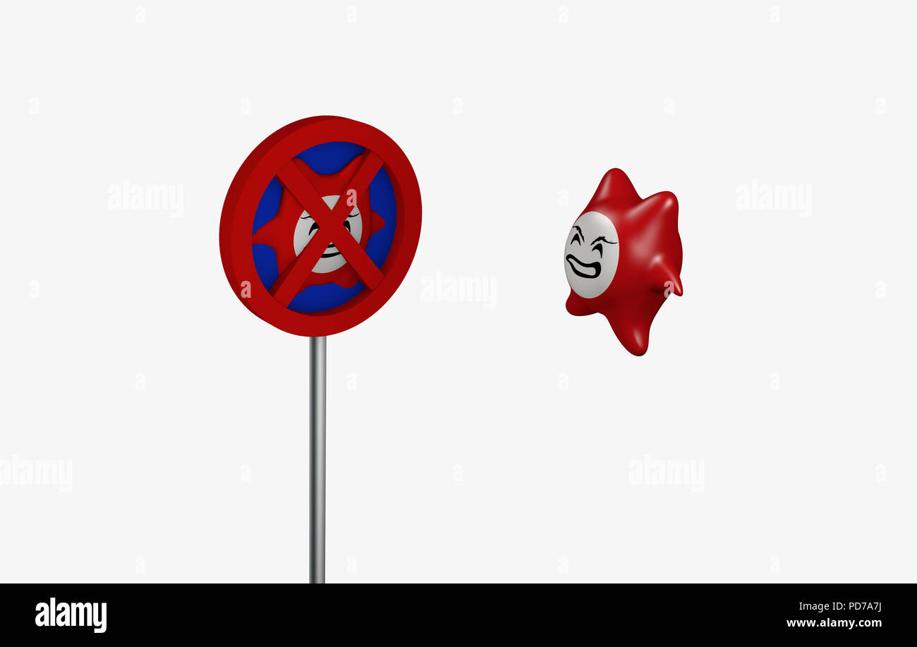 angry computer virus faces an antivirus sign. 3d rendering - Stock Image