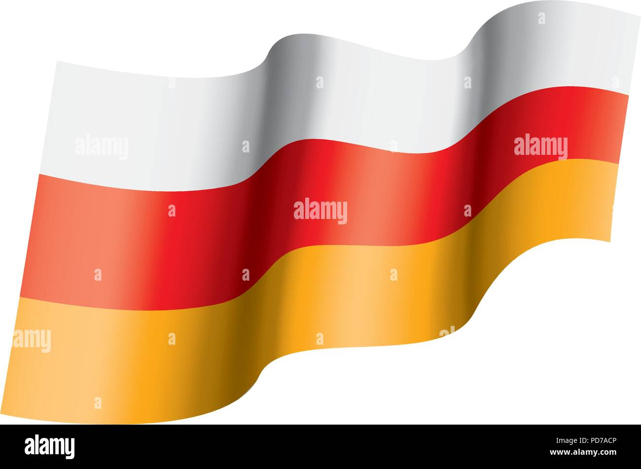 South Ossetia flag, vector illustration - Stock Image