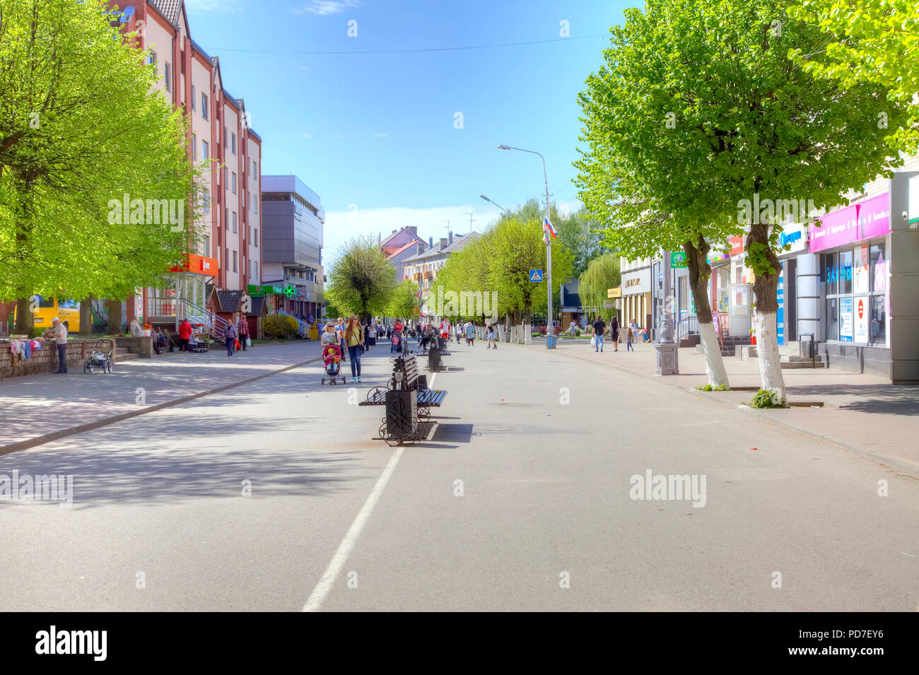 SOVETSK, RUSSIA - May 01.2018: City landscape. Victory Street in Sovetsk city - Stock Image