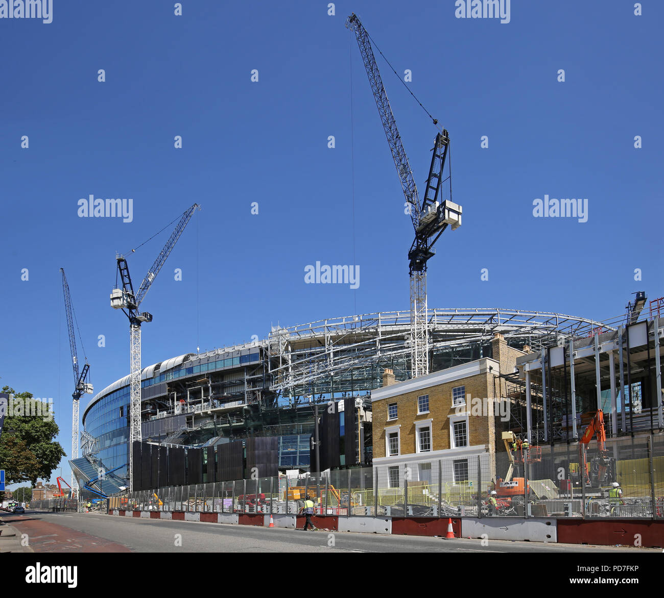 Construction of England premier league team Tottenham Hotspur's new 62,000 seat stadium at White Hart Lane, London. Nearing completion (Aug 2018). - Stock Image