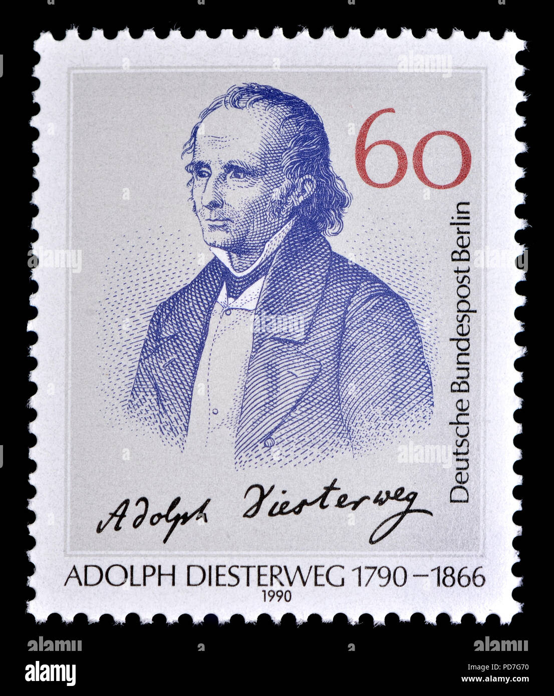 German postage stamp (Berlin: 1990) : Friedrich Adolph Wilhelm Diesterweg (1790 – 1866) German educator and campaigner for the secularization of schoo - Stock Image