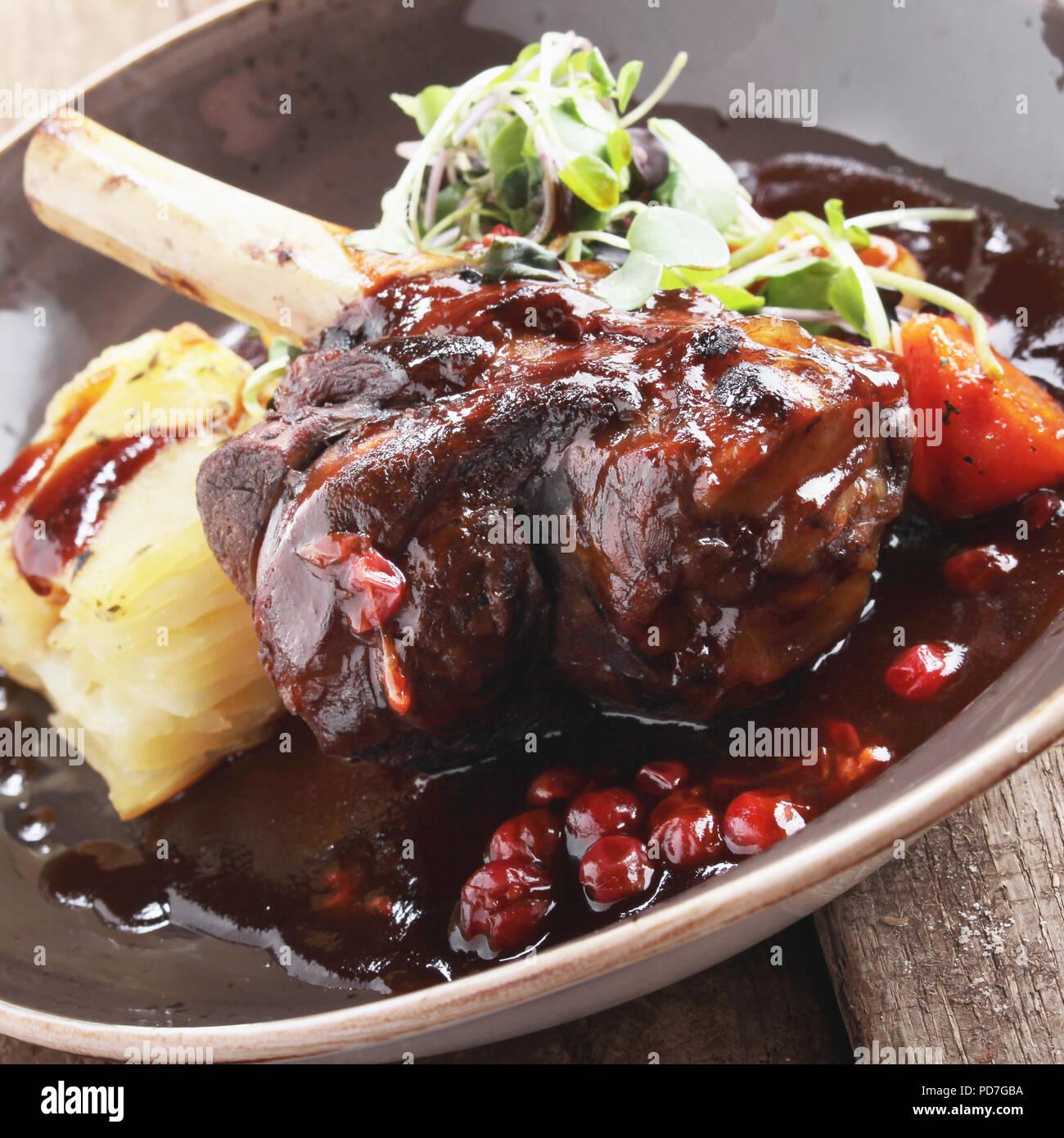 plated lamb main meal - Stock Image