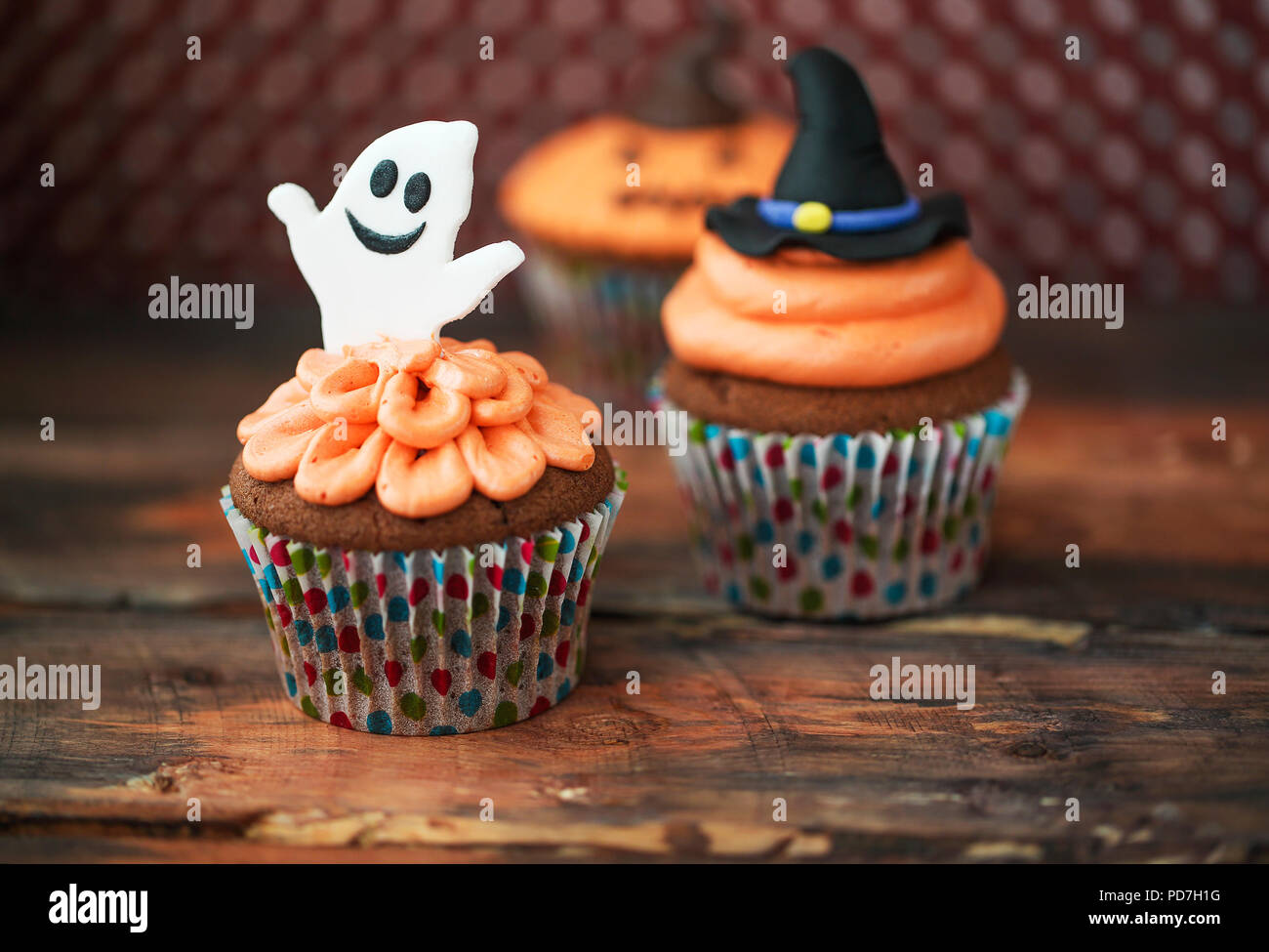 halloween design homemade cupcakes on dark background stock image
