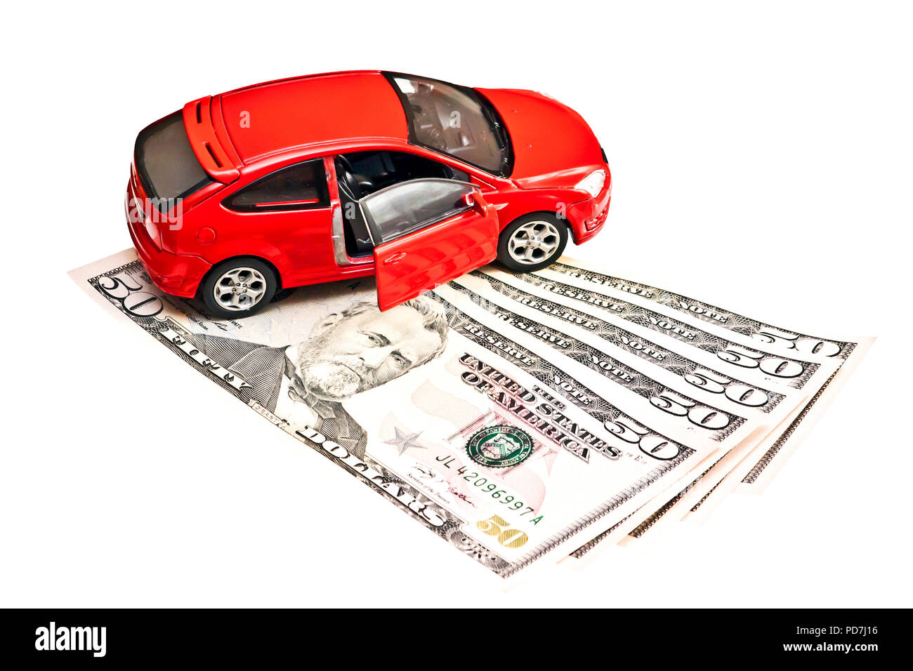 Car and money. Concept for buying, renting, insurance, fuel, service and repair costs - Stock Image