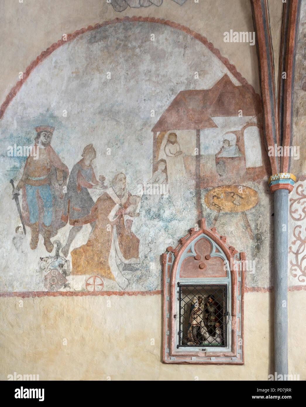 Mittelalterliche Malerei an der Chornordwand, Heilige drei Könige, Tabernakel - Stock Image