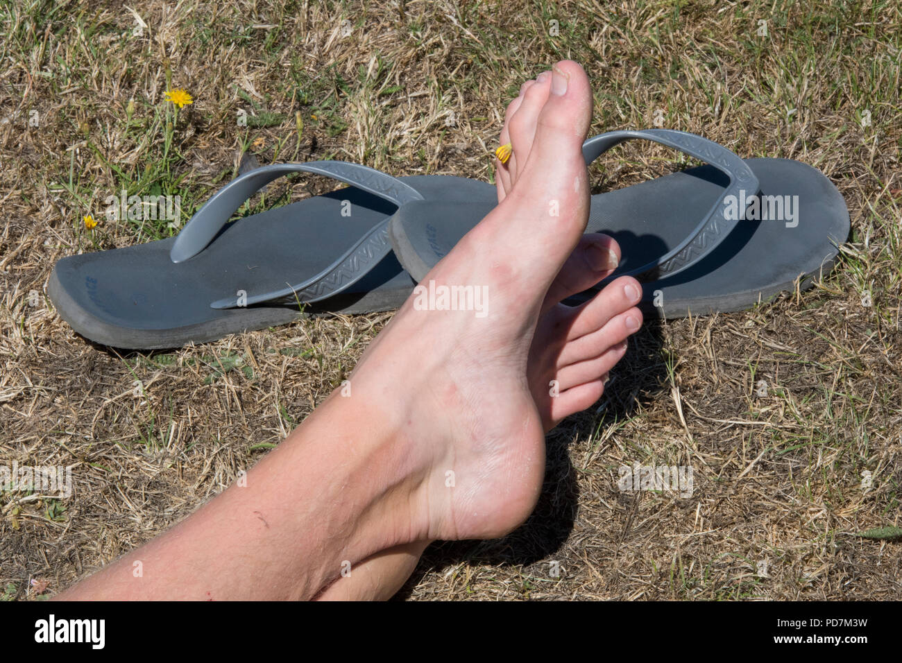 48749c721f3984 a pair of feet and some flip flops rubber footwear for comfort. - Stock  Image