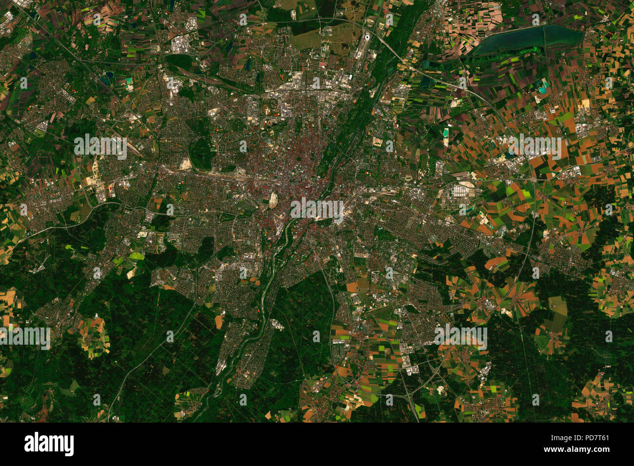 Munich in Bavaria, Germny seen from space - contains modified Copernicus Sentinel data from ESA - Stock Image
