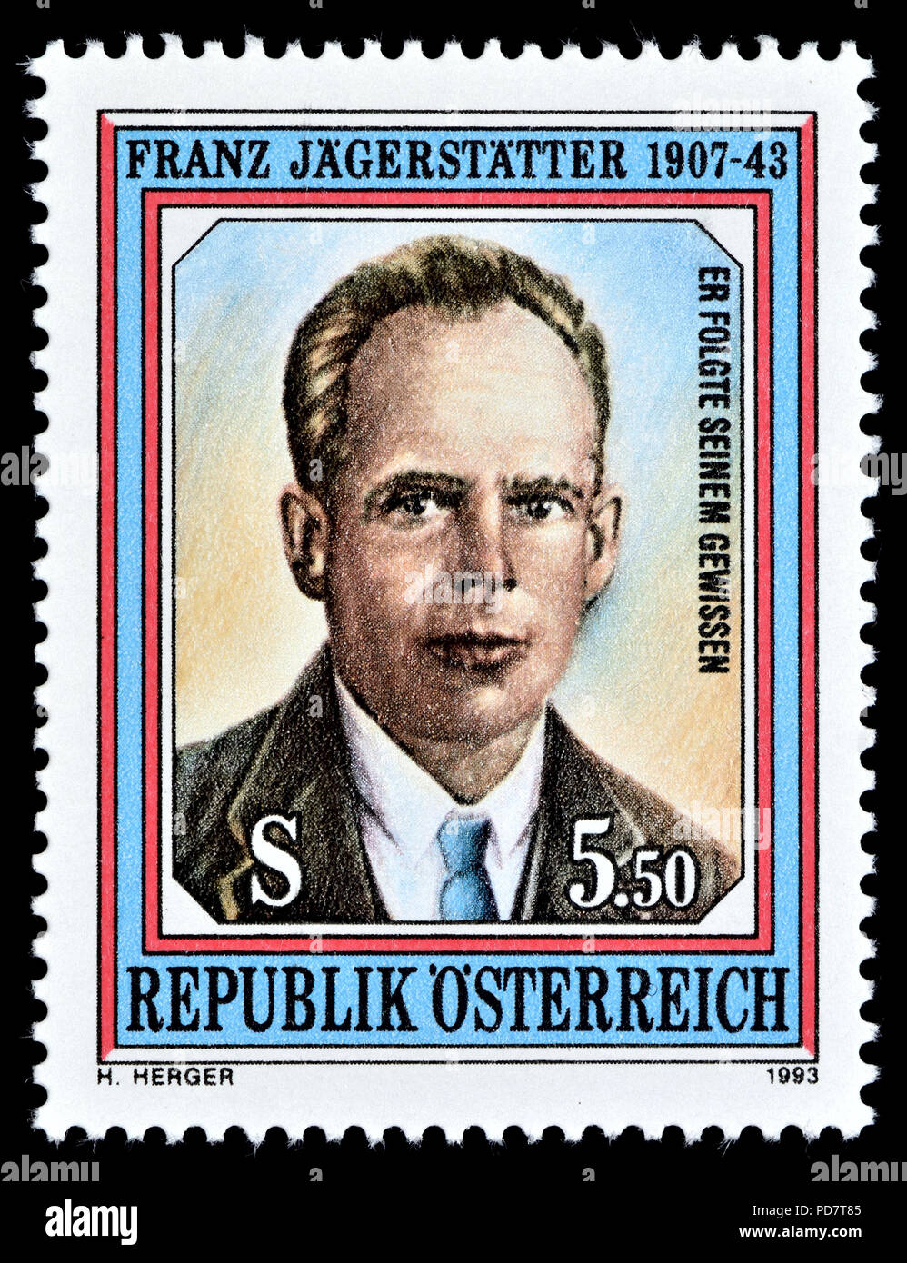 Austrian postage stamp (1993) : Franz Jägerstätter (born Franz Huber 1907 –1943) Austrian conscientious objector during World War II. Sentenced to..... - Stock Image