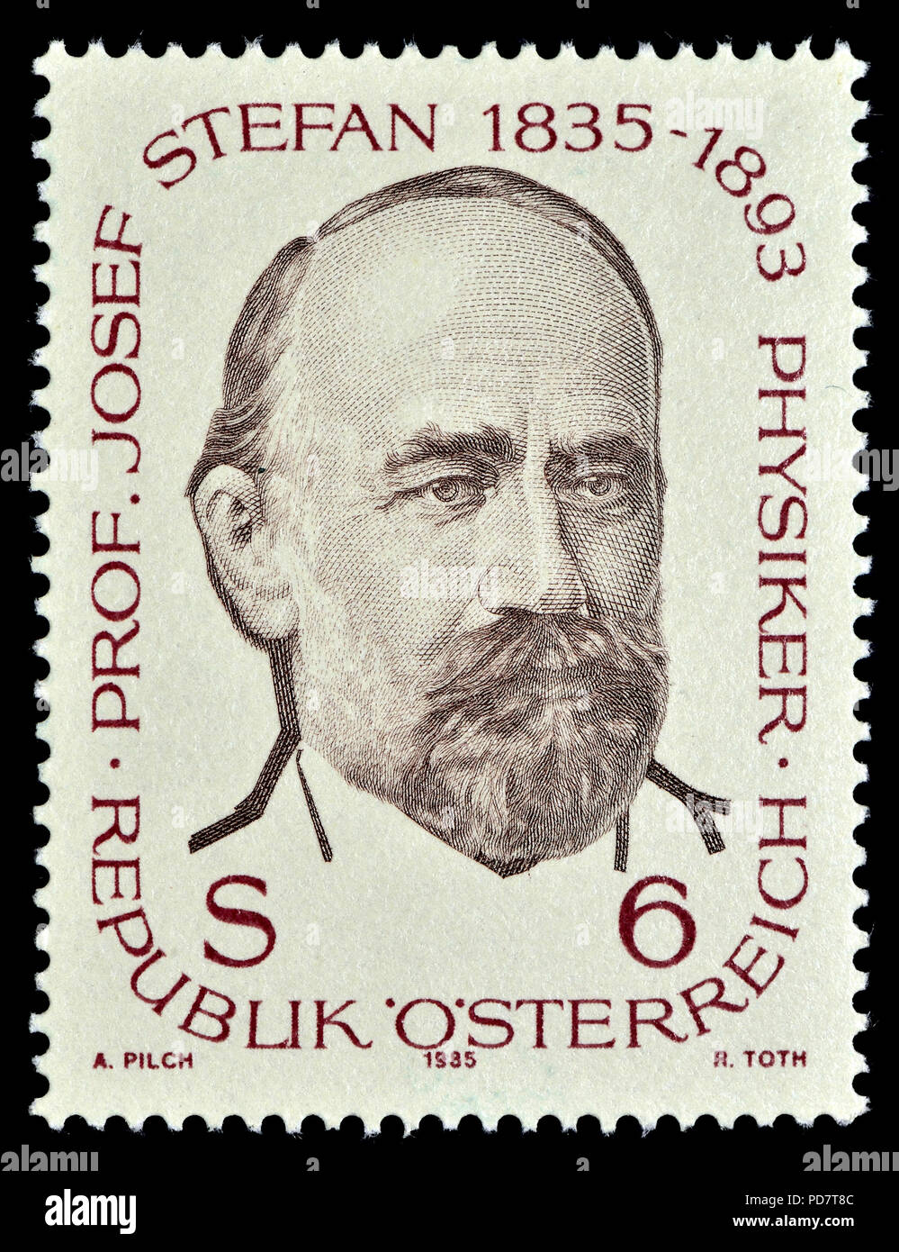 Austrian postage stamp (1985) : Josef Stefan (Slovene: Jožef Štefan; 1835 – 1893) Carinthian Slovene physicist, mathematician, and poet of the Austria - Stock Image