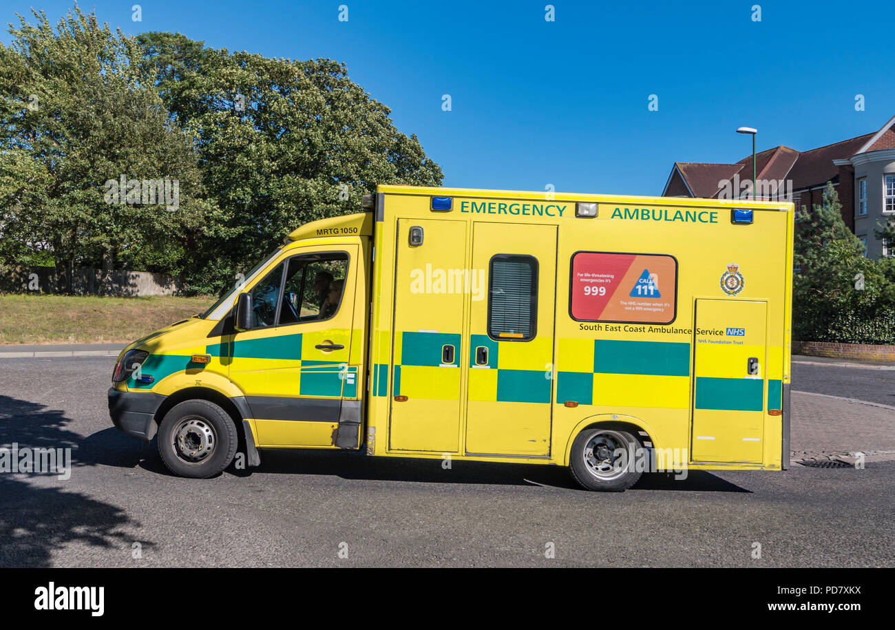 South East Coast NHS Emergency services ambulance in West Sussex, England, UK. - Stock Image