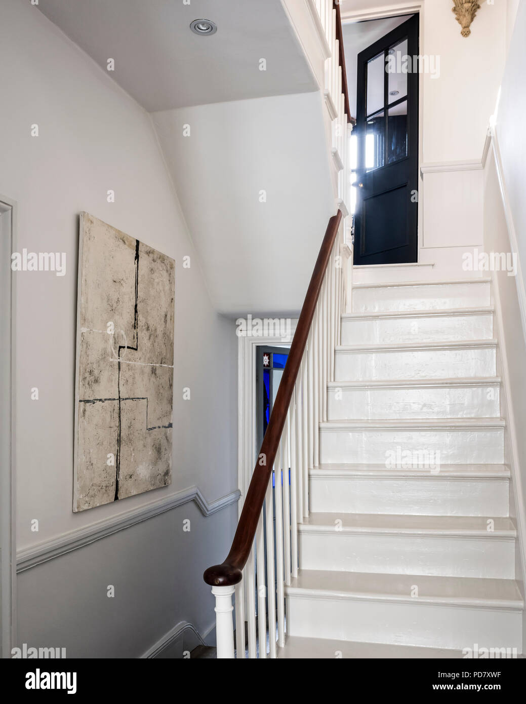 Wooden Staircase Painted In Mid French Grey Whilst The