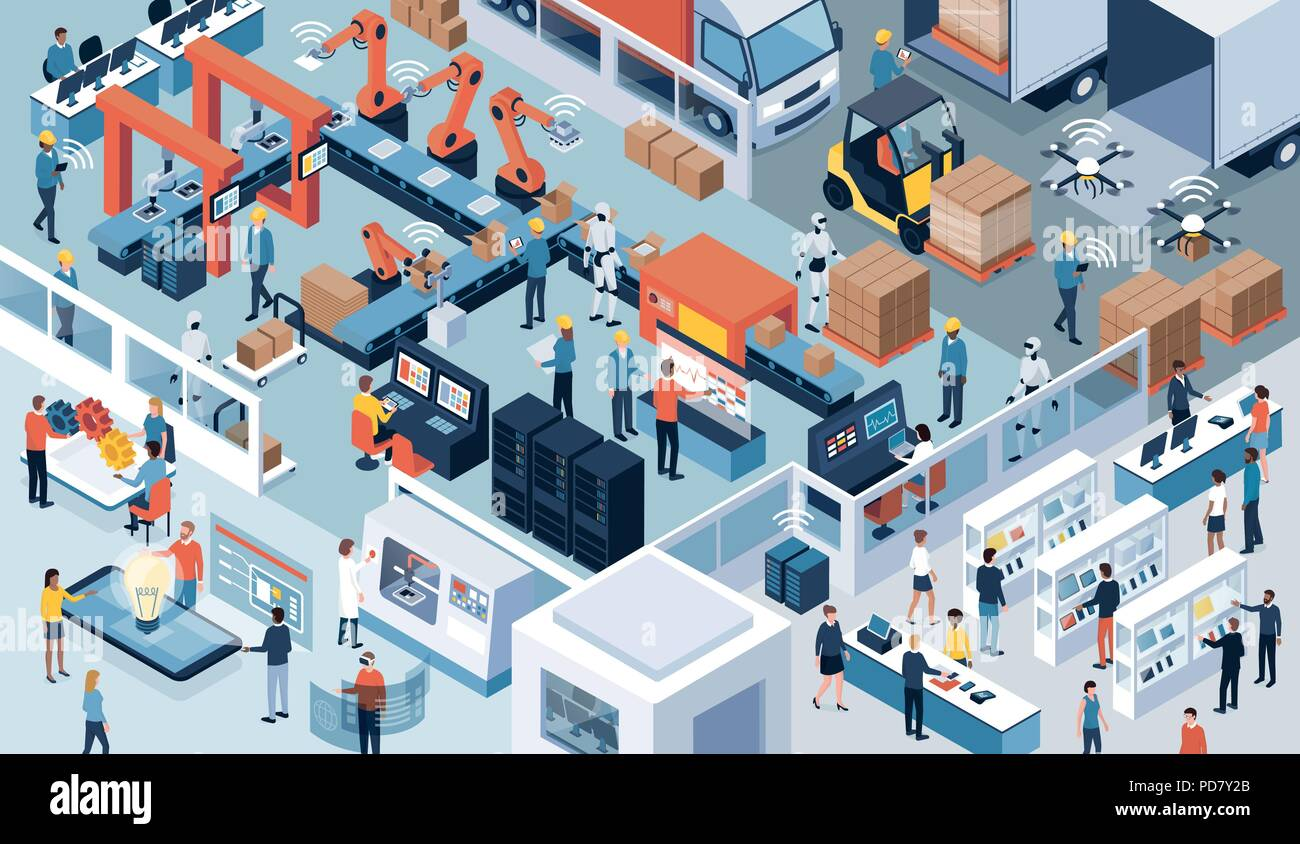 Innovative contemporary smart industry: product design, automated production line, delivery and distribution with people, robots and machinery, indust - Stock Vector