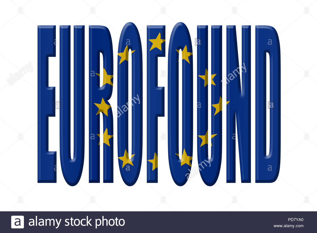 Digital Illustration - EU agency. EUROFOUND European Foundation for the Improvement of Living and Working Conditions,Europäische Stiftung zur Verbesse - Stock Image