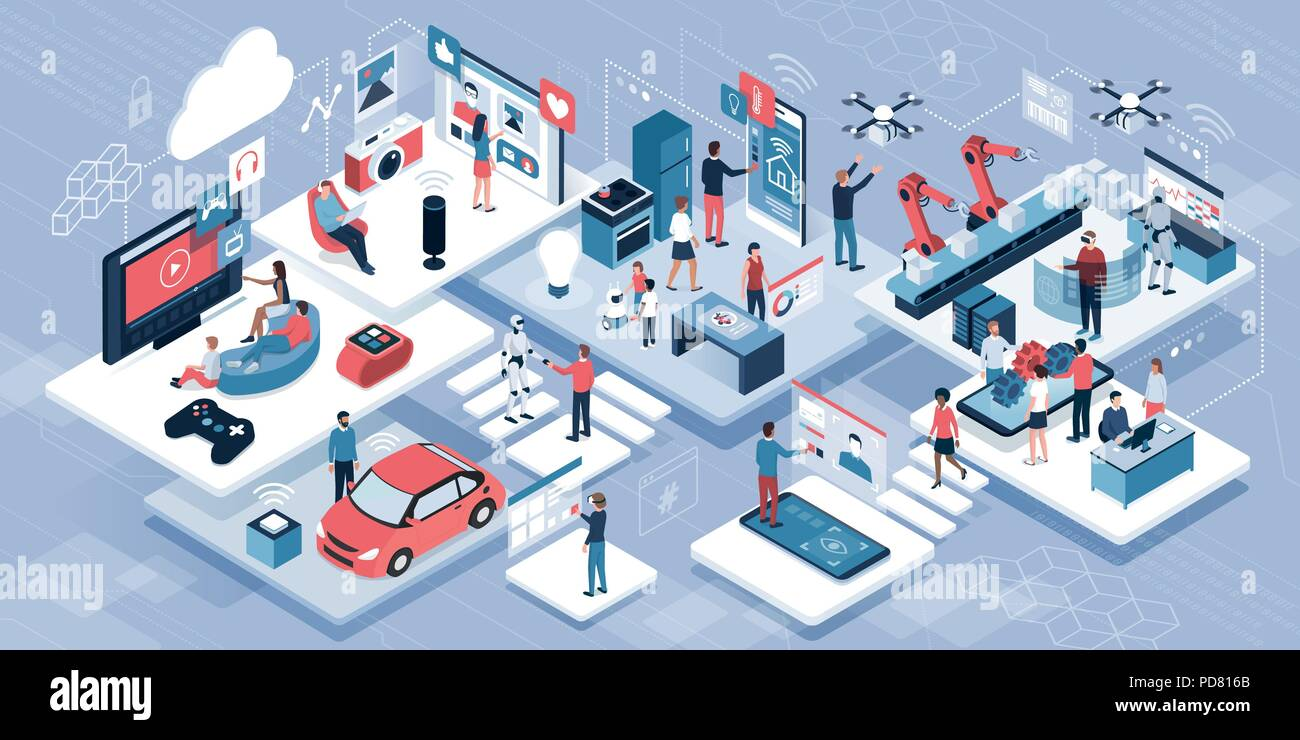Blockchain, internet of things and lifestyle: people using connected devices and touch screen interfaces, robots and smart industry - Stock Vector