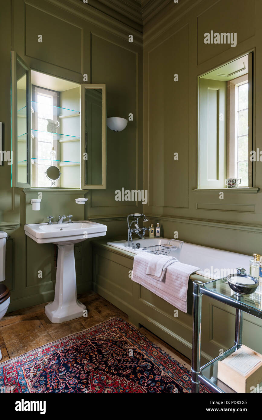 Olive green panelled bathroom with glass shelving in window alcove and antique rug Stock Photo