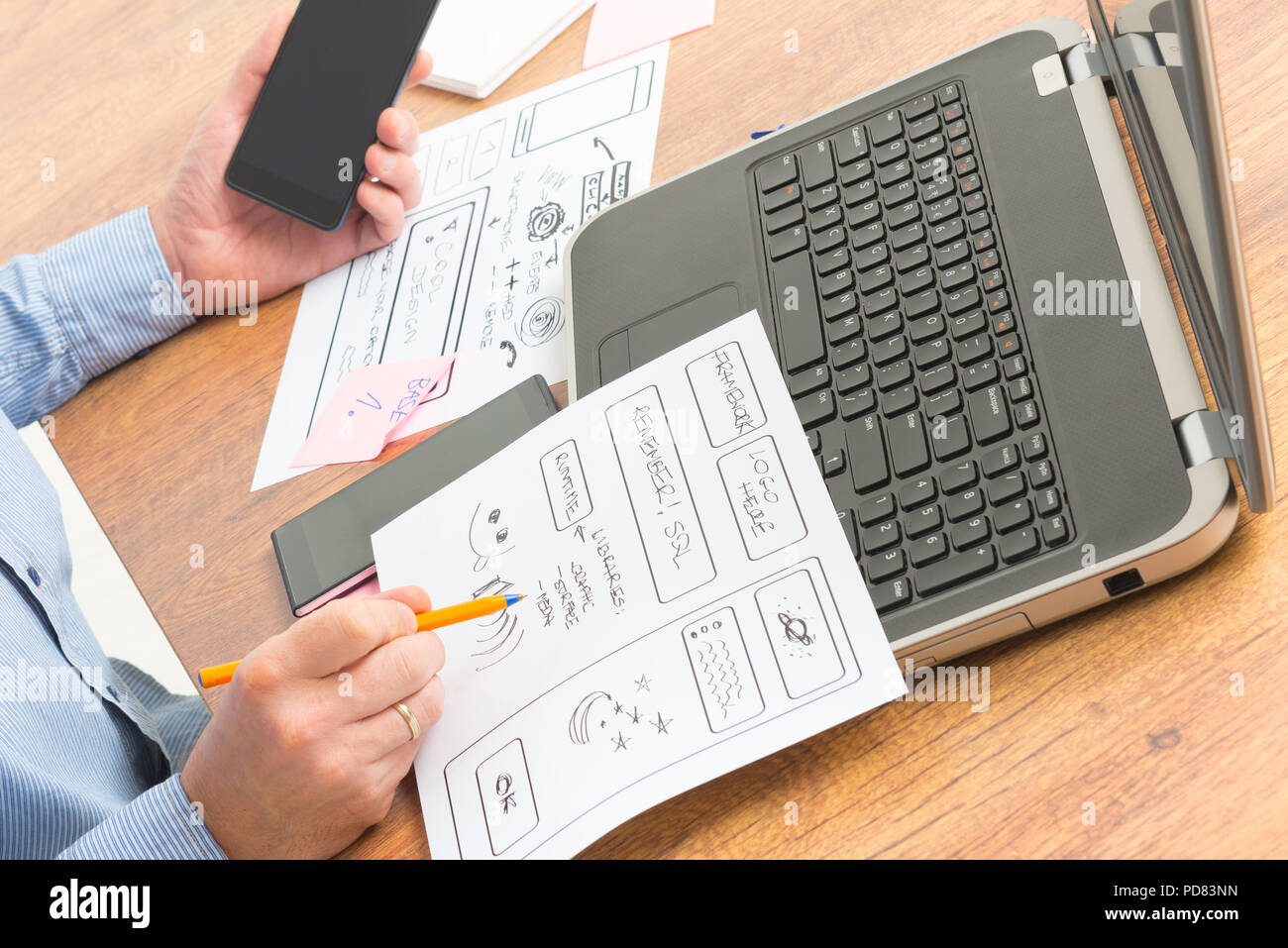 Designer working at new mobile applications Stock Photo
