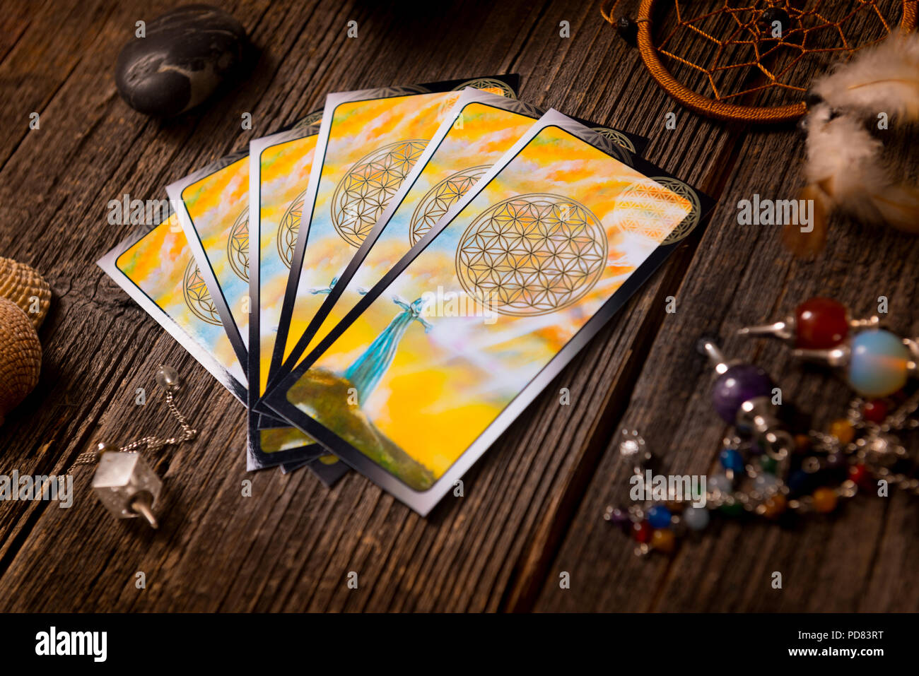 Tarot cards and other fortune teller's accessories Stock Photo