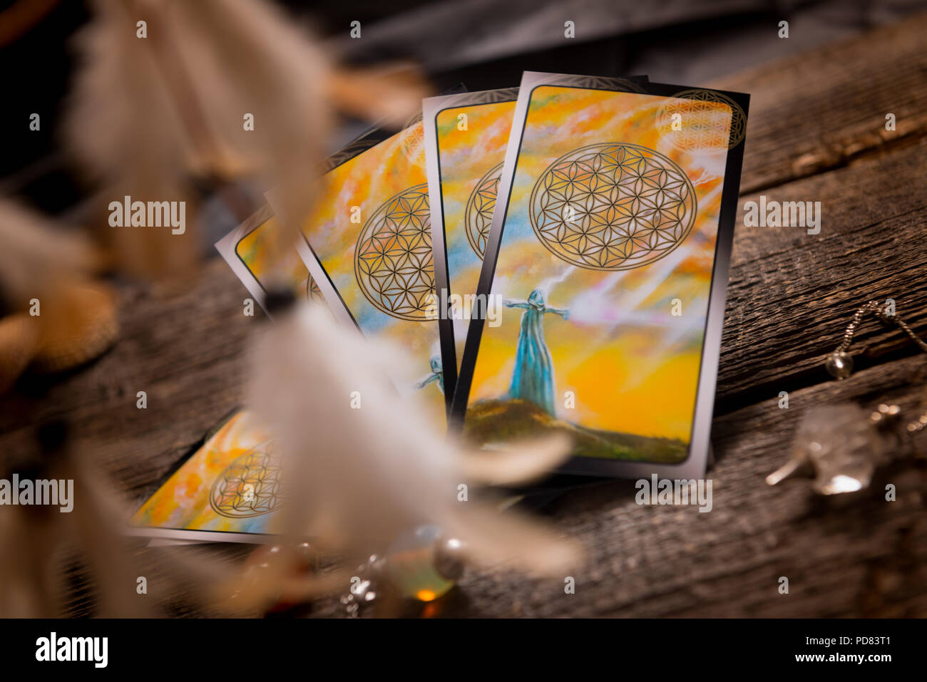 Tarot cards and other fortune teller's accessories - Stock Image