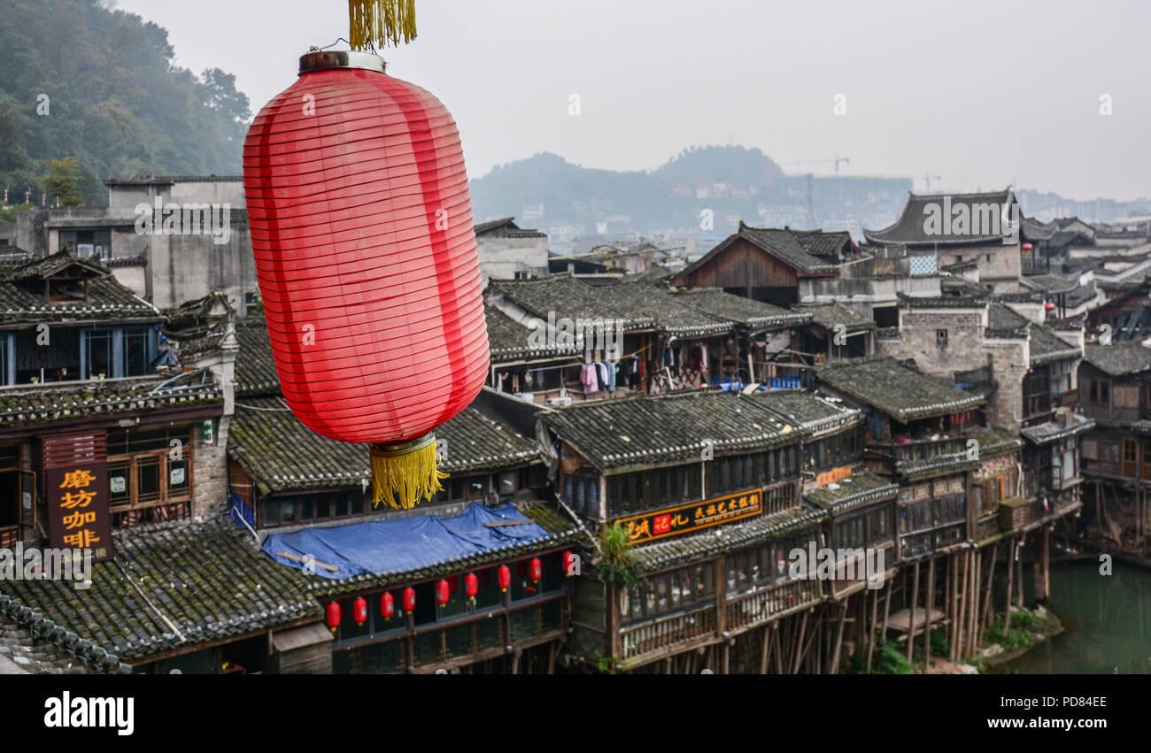 Hunan, China - Nov 5, 2015. Red lantern at Fenghuang (Phoenix) Ancient Town in Hunan, China. - Stock Image