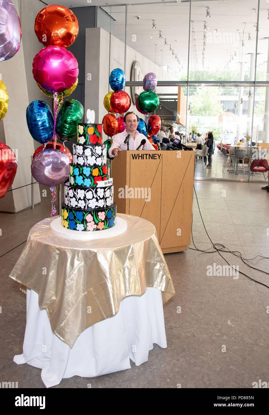 Andy Warhol Five Tier 90th Birthday Cake In Attendance For Anniversary Of Warhols Birth Whitney Museum American Art New York