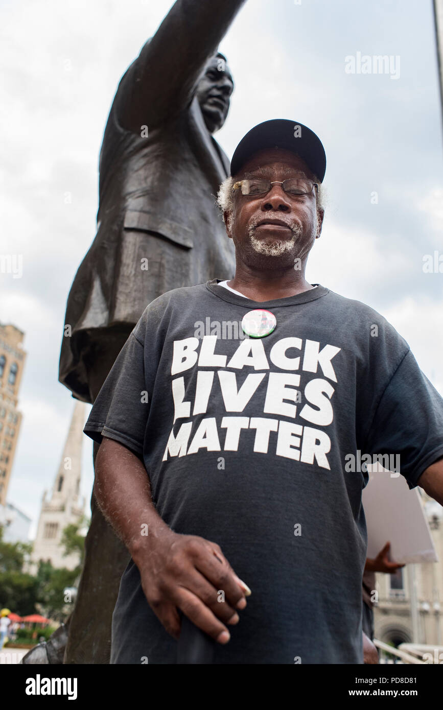 Philadelphia, Pennsylvania / USA. Philly for REAL Justice members hold a weekly protest in front of the statue of former Philadelphia police chief, Frank Rizzo. The organization highlighted the former police chief's record of brutality towards the Black community and is calling for the statue to be removed. August 07 2018. Credit: Christopher Evens/Alamy Live News - Stock Image