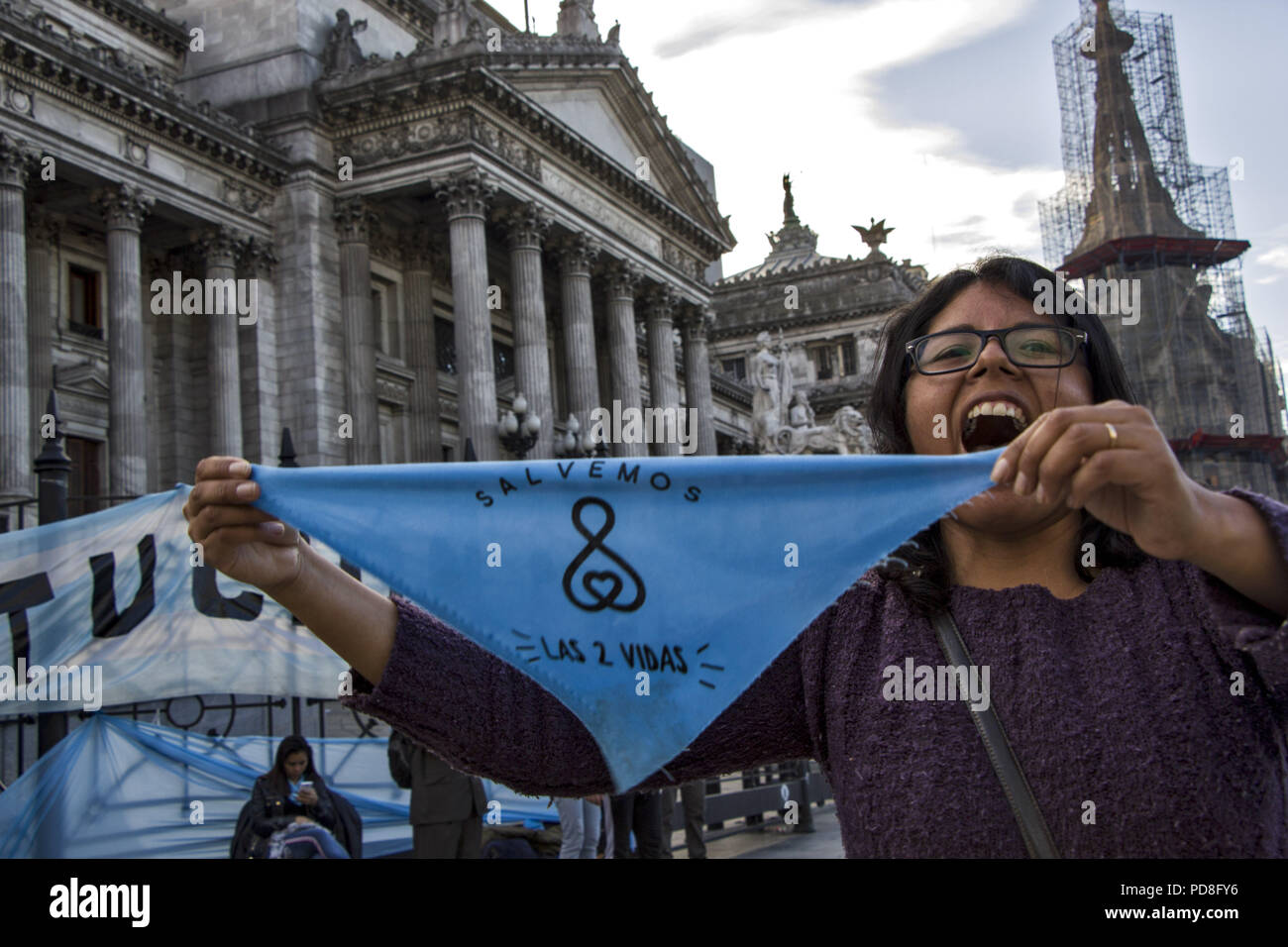 Buenos Aires, Federal Capital, Argentina. 5th Aug, 2018. After having passed through the Chamber of Deputies, where he obtained the average sanction, the project for the legalization of abortion arrived at the Senate for the first time in history.As happened in the Deputies debate and that will be repeated in the Senate, the green wing as the celestial one will approach to manifest itself. Officials of the City Government confirmed that, again, they will divide the Plaza Congreso into two separate columns with a protection fence. This will prevent both sides from crossing and generating in - Stock Image
