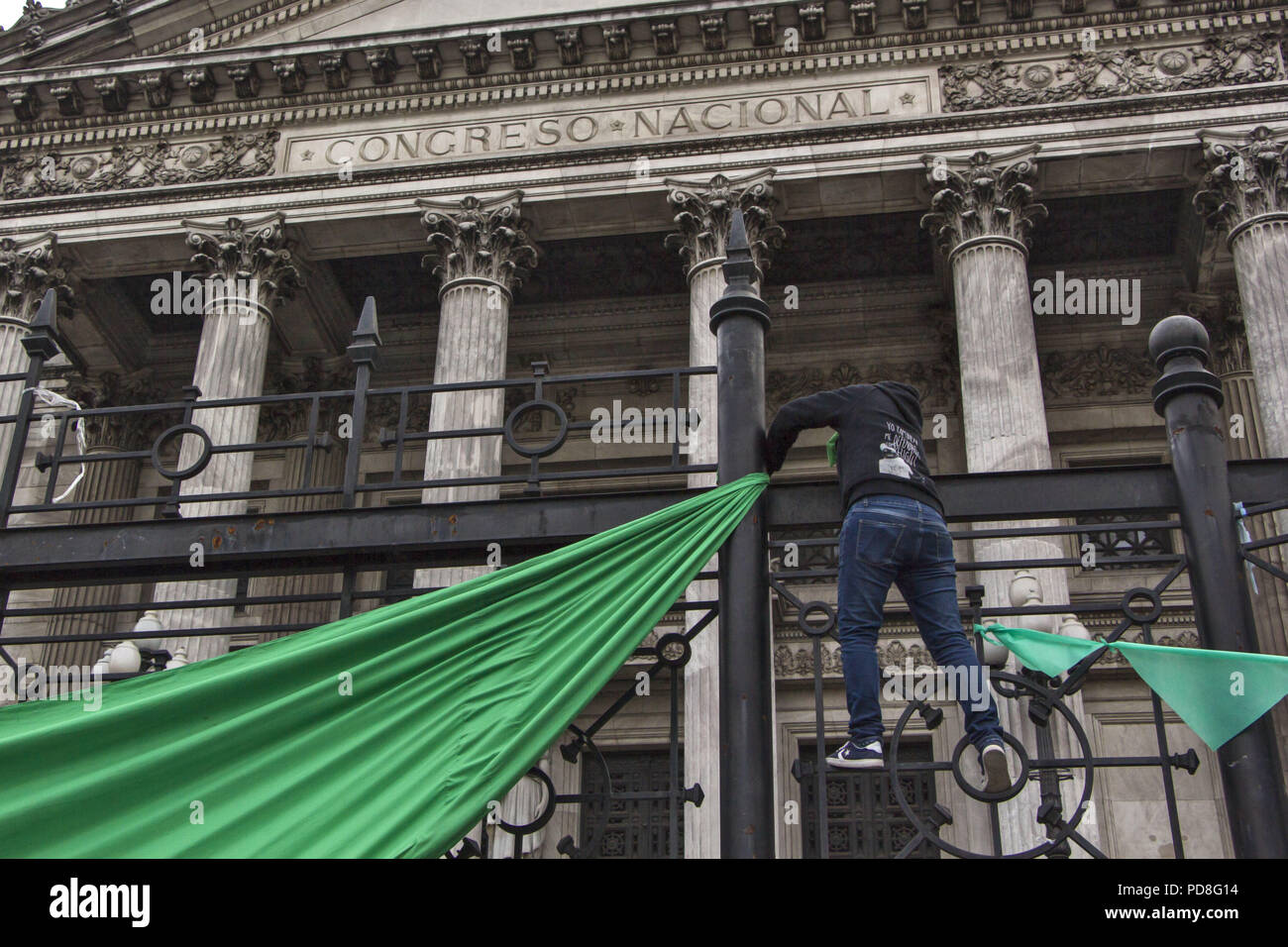 Buenos Aires, Federal Capital, Argentina. 5th Aug, 2018. After having passed through the Chamber of Deputies, where he obtained the average sanction, the project for the legalization of abortion arrived at the Senate for the first time in history.As happened in the Deputies debate and that will be repeated in the Senate, the green wing as the celestial one will approach to manifest itself. Officials of the City Government confirmed that, again, they will divide the Plaza Congreso into two separate columns with a protection fence. This will prevent both sides from crossing and generating in Stock Photo