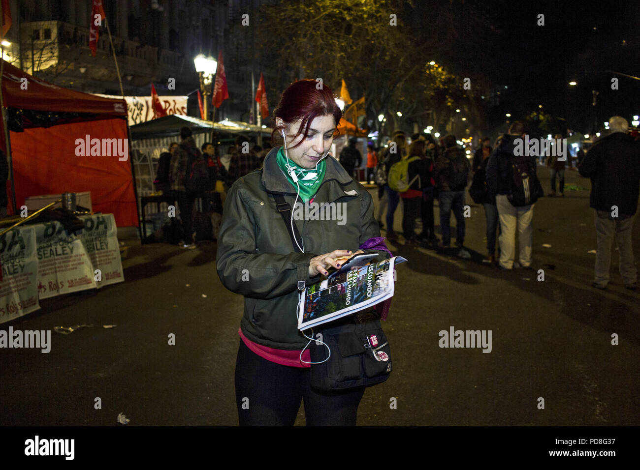 Buenos Aires, Federal Capital, Argentina. 7th Aug, 2018. After having passed through the Chamber of Deputies, where he obtained the average sanction, the project for the legalization of abortion arrived at the Senate for the first time in history.As happened in the Deputies debate and that will be repeated in the Senate, the green wing as the celestial one will approach to manifest itself. Officials of the City Government confirmed that, again, they will divide the Plaza Congreso into two separate columns with a protection fence. This will prevent both sides from crossing and generating in - Stock Image